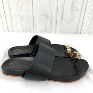 VINCE CAMUTO BLACK & GOLD SANDALS 6 1/2